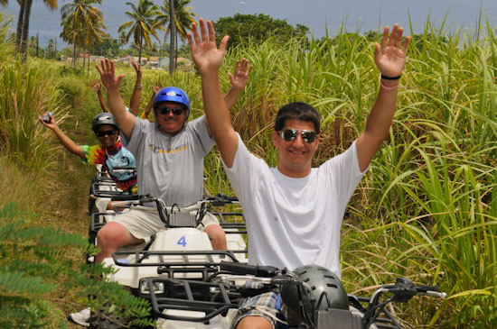 Happy St Kitts quad bike tour clients.