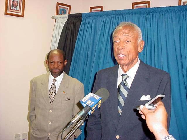 St. Kitts and Nevis Prime Minister Hon. Dr Denzil Douglas with West Indies Cricket Board President Ken Gordon