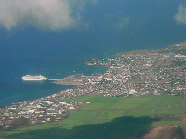 Aerial photo of Basseterre, St. Kitts