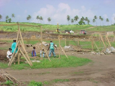 Construction of stalls at Beaumont Park Race Track, St. Kitts