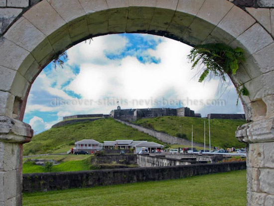 Brimstone Hill Fortress as seen through an arch in the Artillery Officers Quarters