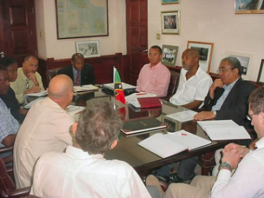 Martinique-based Monplaisir Group discuss hotel amd villa development around the La Valle International Golf course with St. Kitts and Nevis officials.