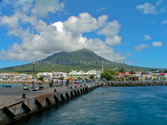 Photo of the Charlestown pier and waterfront in Nevis.