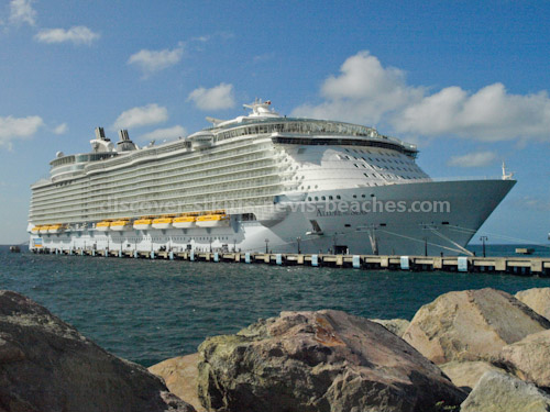 Royal Caribbean's Allure of the Seas cruise ship docked at Port Zante in St Kitts