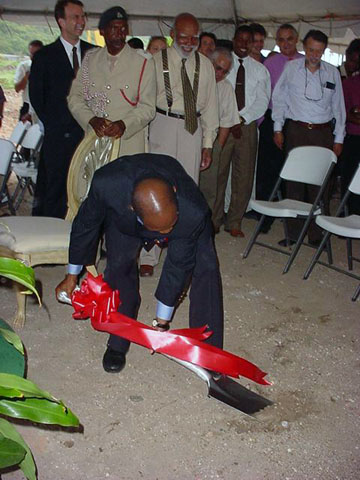 St. Kitts and Nevis Prime Minister and Minister of Tourism, the Hon. Dr. Denzil L. Douglas turns the sod to commence construction of the multi-million dollar Ocean Edge Resort at Frigate Bay, St. Kitts.
