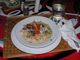 Pasta, shrimp and salmon dinner