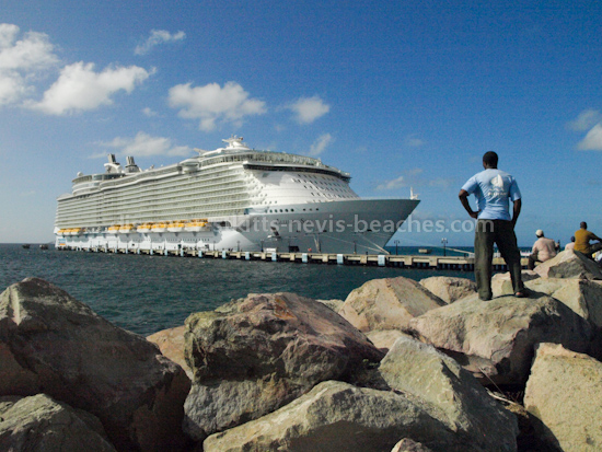 Royal Caribbean Cruise Lines Allure of the Seas docked at Port Zante in Basseterre, St. Kitts on its inaugural visit to St Kitts