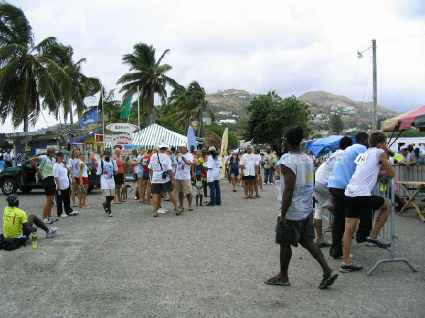 Section of the crowd at 2004 St Kitts Triathlon