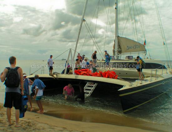 Spirit of St. Kitts catamaran at Pinney's Beach in Nevis.