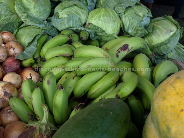 Vegetables produced by members of the St Kitts Farmer's Cooperative Society