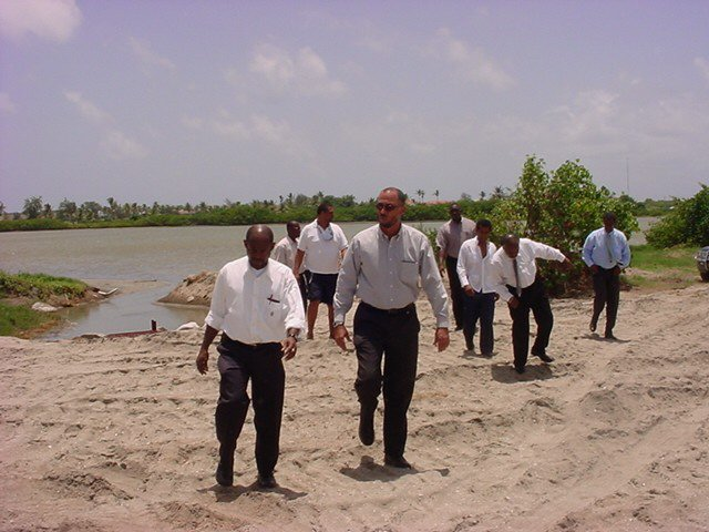 St. Kitts Cabinet Ministers visit South Frigate Bay Salt Pond