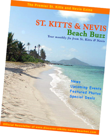 St Kitts Nevis Beach Buzz ezine (official newsletter of Discover St Kitts Nevis Beaches) cover.