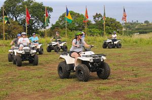 Test driving ATVs prior to St Kitts quad bike tour