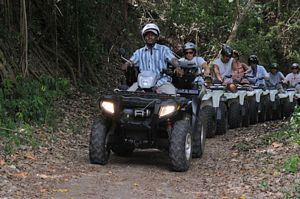 ATVs in the rainforest on St Kitts quad bike tour