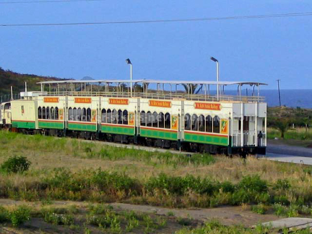 St. Kitts Scenic Railway Sugar Train alongside platform at Golden Rock