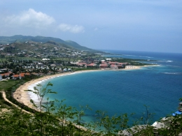 St Kitts tours and Island Safaris with Captain Sunshine Tours. St Kitts photo of Captain Sunshine Tours St Kitts Panoramic Tour showing the view of Frigate Bay from the Timothy Hill lookout point.
