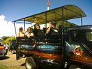 St Kitts tours and Island Safaris with Captain Sunshine Tours. St Kitts photo of Captain Sunshine Tours open air safari jeep.