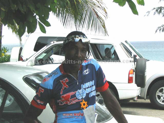 Lesroy 'Snake' Queeley after completing the 40K Olympic bike course in the 2004 St Kitts Triathlon