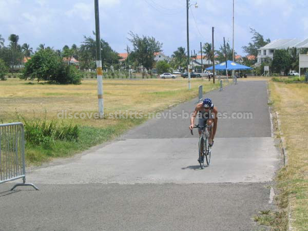 Male participant on bike in the 2004 St Kitts Triathlon