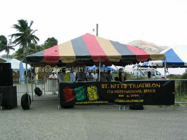 Tent at finish line of 2004 St Kitts Triathlon