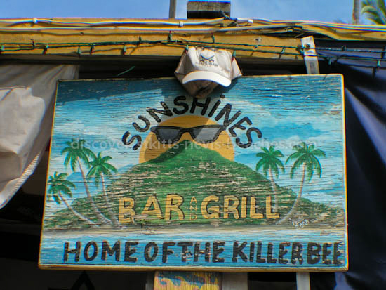 Sign for Sunshine's Bar and Grill on Pinney's Beach in Nevis.
