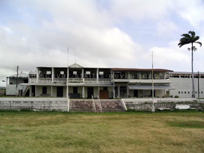 Old Pavilion at Warner Park in St. Kitts. Today the renovated building sits behind the new players pavilion and houses offices and dining facilities.