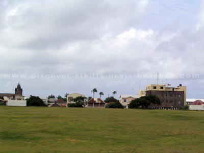 View of old southern section of the cricket grounds at Warner Park in St. Kitts. Today the southern stands of the Warner Park Cricket Stadium are located in this area.