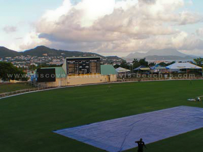 Video screen, score board and the Carib Party Mound at the new Warner Park Cricket Stadium in St. Kitts