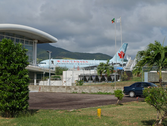 Air Canada jet at Robert L Bradshaw International Airport in St Kitts.
