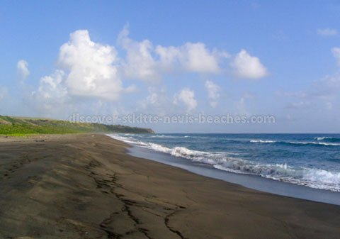 Black sand beach at Keys in St. Kitts.  This beach is a nesting site for Leatherback turtles.