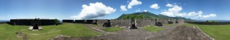 Panoramic photo of the Eastern Place of Arms at the Brimstone Hill Fortress National Park, St. Kitts