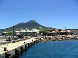 Main Pier in Charlestown Nevis.  Nevis Peak in the background.