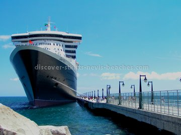 Cruise ship (Queen Mary 2) docked at Port Zante in St Kitts