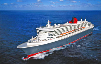 Queen Mary 2 anchored in the Basseterre roadstead, St Kitts in February 2004