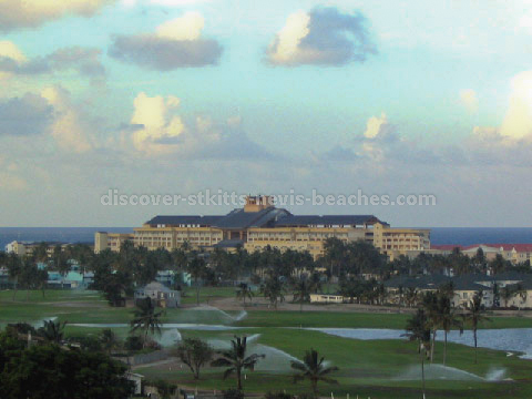 A section of the Royal St. Kitts Golf Course with the St Kitts Marriott Resort in the background