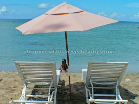 Beach umbrella at South Frigate Bay Beach in St Kitts