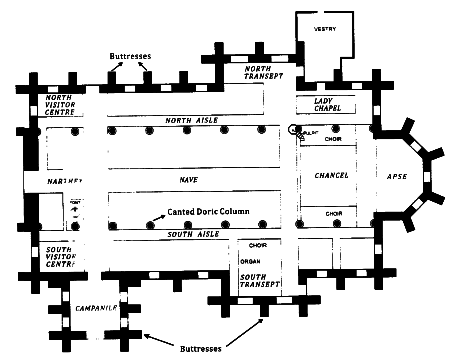 St Kitts heritage sites photos - Floor plan of St Georges Anglican Church in Basseterre St Kitts. Source: Anniversary Magazine.