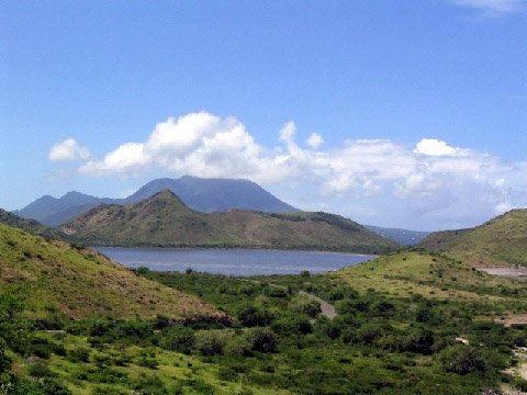 St Kitts Southeast Peninsula Safari photo - Great Salt Pond with the peak of Mt Nevis shoruded in clouds
