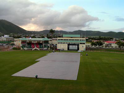Players Pavilion and Media Center viewed from the Southern Stands at the new Warner Park Cricket Stadium in St. Kitts