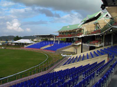 Seating in the Southern Stands at the new Warner Park Cricket Stadium in St. Kitts