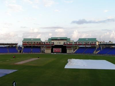 View of Southern Stands from the Players Pavilion at the new Warner Park Cricket Stadium in St. Kitts