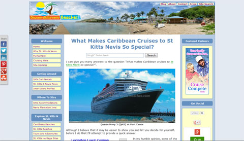 Discover St Kitts Nevis Beaches website screenshot